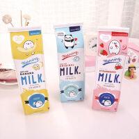 卡通牛奶盒笔袋 小学生可爱韩国创意大容量铅笔袋男女 趣味仿真牛奶笔袋  简约文具笔盒
