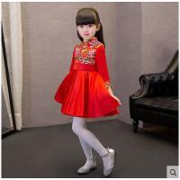 时尚立领盘扣精美图案中式复古旗袍演出服儿童礼服女童长袖公主裙