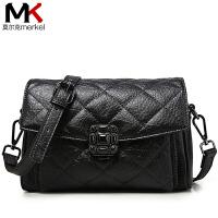 莫尔克(MERKEL)2017新款牛皮菱格包链条包小香包时尚复古小包包单肩包斜挎女包小方包