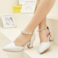 娜箐箐高跟单鞋尖头浅口皮鞋一字扣单鞋粗跟高跟鞋女鞋