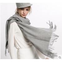 韩版加厚两用羊毛围巾披肩围脖礼盒装 百变大披肩女纯色斗篷 羊毛围巾女士