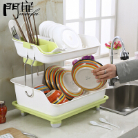 门扉 置物架 双层厨房置物架加厚塑料沥水架碗架餐具柜收纳架子 创意厨房用品 碗架