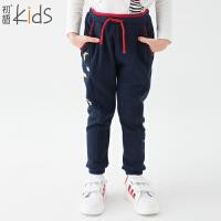 初语童装 冬装新款 女童休闲裤 可爱纯色 宽松卫衣裤子T5319010112