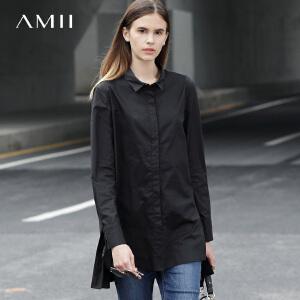 Amii2017春装新翻领暗门襟前短后长棉质衬衫女11781107