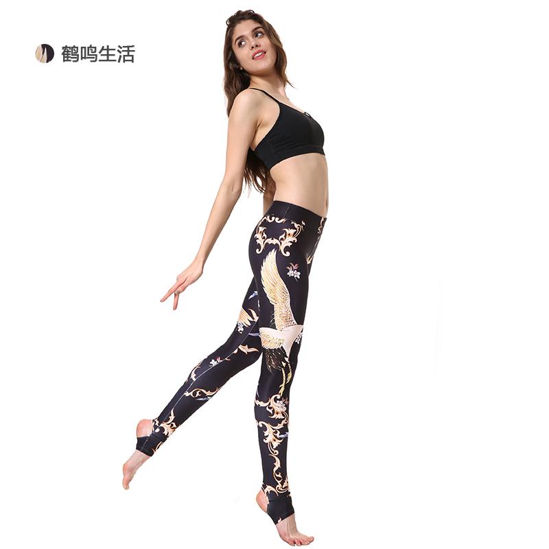 优卡莲 瑜伽裤 仙鹤印花弹力裤 速干健身裤 运动瑜珈踩脚裤 bpw088