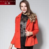 小虫2016秋冬新款时尚简约羊毛呢大衣常规加厚长袖毛呢外套女