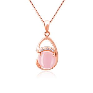 芭法娜 月光宝贝 银镶天然芙蓉石吊坠 送银项链一条