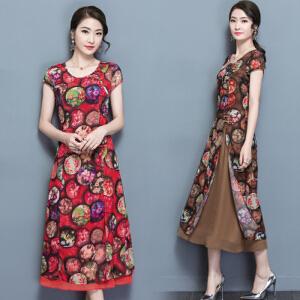 【当当年中庆】2017夏季新款印花连衣裙复古修身圆领短袖长裙