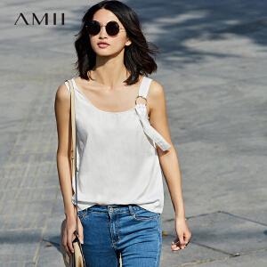 Amii[极简主义]2017夏新简洁时尚不对称肩带金属环背心女11771148