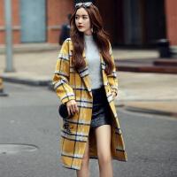 2016冬新款时尚显瘦女毛呢大衣中长款外套