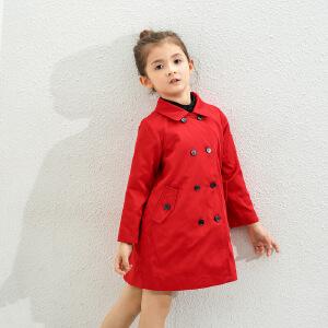 amii童装2017春新款女童风衣儿童中大童中长款外套英伦翻领大衣