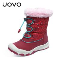 【满200减100】UOVO2017新款女童靴子冬季女童短靴中大童保暖雪地靴棉靴时尚潮童鞋 惠斯勒
