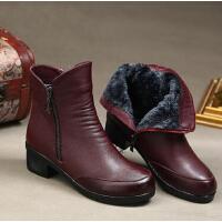 冬季中老年人鞋妈妈鞋棉鞋 高帮加绒大码中筒靴保暖中年真皮女靴女鞋