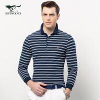 七匹狼长袖T恤衫男士2017春季新款商务时尚休闲方领条纹长袖T恤男
