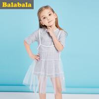 巴拉巴拉儿童短袖套装女童2017夏新款小童宝宝吊带裙两件套女半袖