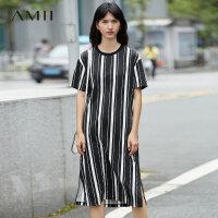Amii[极简主义]夏装2017新款圆领短袖条纹纯棉T恤连衣裙11733043