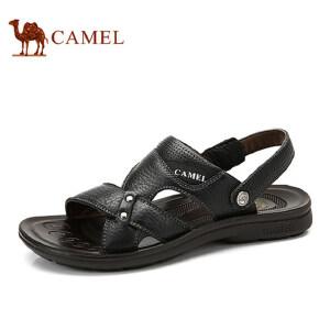 camel骆驼凉鞋男 夏季牛皮沙滩鞋 防滑透气两用凉拖鞋 男士休闲凉鞋