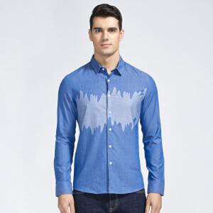 才子男装(TRIES)长袖衬衫 男士2017年新款创意图案拼色修身版休闲长袖衬衫