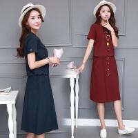 波柏龙 2017棉麻连衣裙中长款韩版大码宽松套装裙两件套