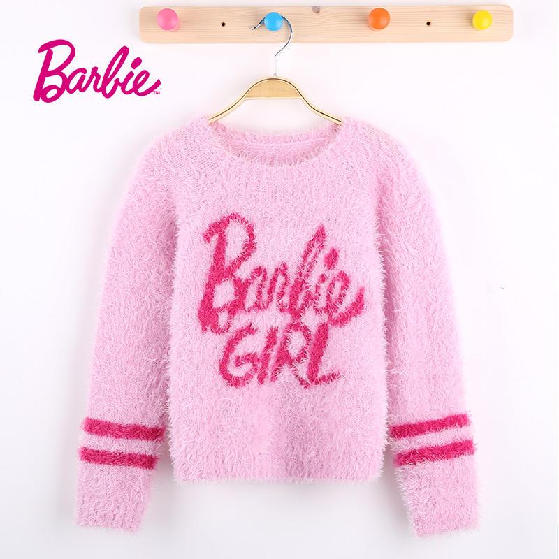 Barbie芭比女童装春季新款毛衣粉色套头针织衫中大童圆领长袖宝宝打底衫