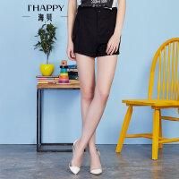 【2件5折】【5.2上新】ihappy/海贝气质时尚黑色短裤