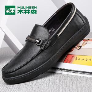 木林森男鞋商务休闲鞋正装鞋男士皮鞋牛皮圆头软面皮耐磨乐福鞋套脚77053122