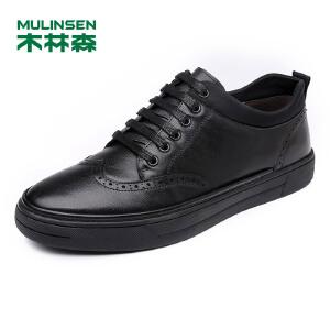 木林森男鞋 2017年新款牛皮休闲板鞋 耐磨简约时尚英伦男板鞋05177347