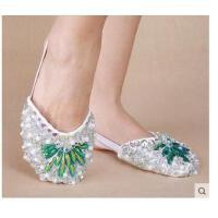 新款女鞋肚皮舞鞋子 软底练舞蹈鞋女 水钻亮片成人肚皮舞半截鞋