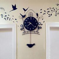 御目 挂钟 卧室客厅夜光现代装饰欧式挂表田园静音摇摆时尚潮流挂饰个性小鸟钟表挂件