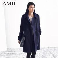 【AMII超级大牌日】[极简主义] 极简 2016冬新百搭A型宽松双排扣翻领羊毛呢子外套11480561