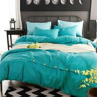 轻奢北欧纽扣四件套 纯色简约被套床单套件 床上用品