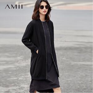 Amii[极简主义]2017春装新品时尚帅气宽松显瘦棒球长外套11780841