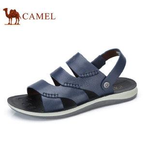 camel骆驼男鞋 2017夏季新品 牛皮凉鞋休闲清爽透气两用转换凉鞋