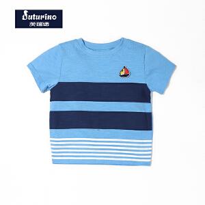 [满200减100]芙瑞诺童装男童夏装帆船海洋休闲圆领蓝色条纹撞色纯棉短袖T恤