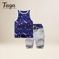 【满200-100】TAGA童装 2017新款男童夏季背心套装儿童中大童纯棉满印背心套装