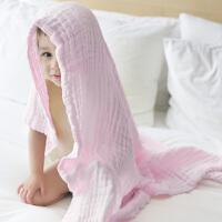 [当当自营]三利 纯棉纱布 A类标准 婴儿浴巾 柔软舒适毛巾被 吸湿透气裹巾抱被 新生儿盖毯 浅粉色