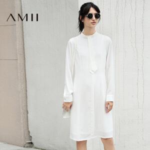 【AMII超级大牌日】[极简主义]2017年春新纯色立领绑带套头长袖休闲大码显瘦连衣裙