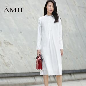 【AMII超级大牌日】[极简主义]2017年春装新款纯色休闲立领大码中长款长袖连衣裙女