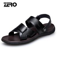 Zero零度男士真皮凉鞋2017夏季新款凉拖两用休闲鞋防滑露趾沙滩鞋R72068