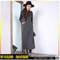 新款女式时尚打底裙长袖加绒连衣裙包臀收腰 厚修身显瘦中长款裙