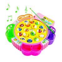 亲子儿童钓鱼玩具池磁性竿音乐电动旋转套装1-3岁益智小孩猫宝宝