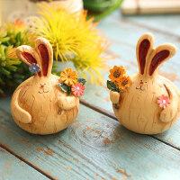 创意家居客厅卧室兔子小摆件酒柜电视柜儿童房摆设生日礼物装饰品