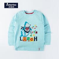 芙瑞诺童装春季新款男童航海系列小鲨鱼印花长袖纯棉T恤