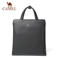 Camel/骆驼男士 手提包休闲竖款公文包男商务牛皮单肩斜挎男包