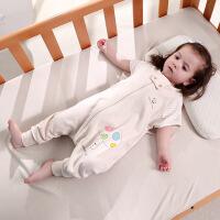 御目 婴儿睡袋 夏季纯棉短袖薄款彩棉睡袍新生婴儿分腿式儿童睡衣宝宝防踢被毯子被子家居服