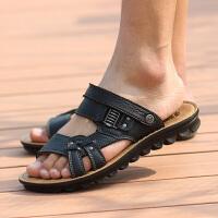 夏季男士真皮凉鞋两用软底防滑透气沙滩鞋防臭露趾英伦潮