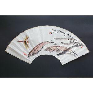 """手绘""""蜻蜓""""扇面"""