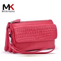 莫尔克(MERKEL)新款牛皮女手机钱包手拿斜跨迷你小包包手拿小包女士真皮时尚品牌手抓包