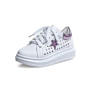 莎诗特2017新款小白鞋镂空休闲鞋厚底松糕运动女鞋圆头星星板鞋81030