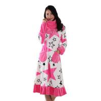 秋冬季可爱公主大码长袖珊瑚绒家居服女士孕妇长款睡衣女睡裙